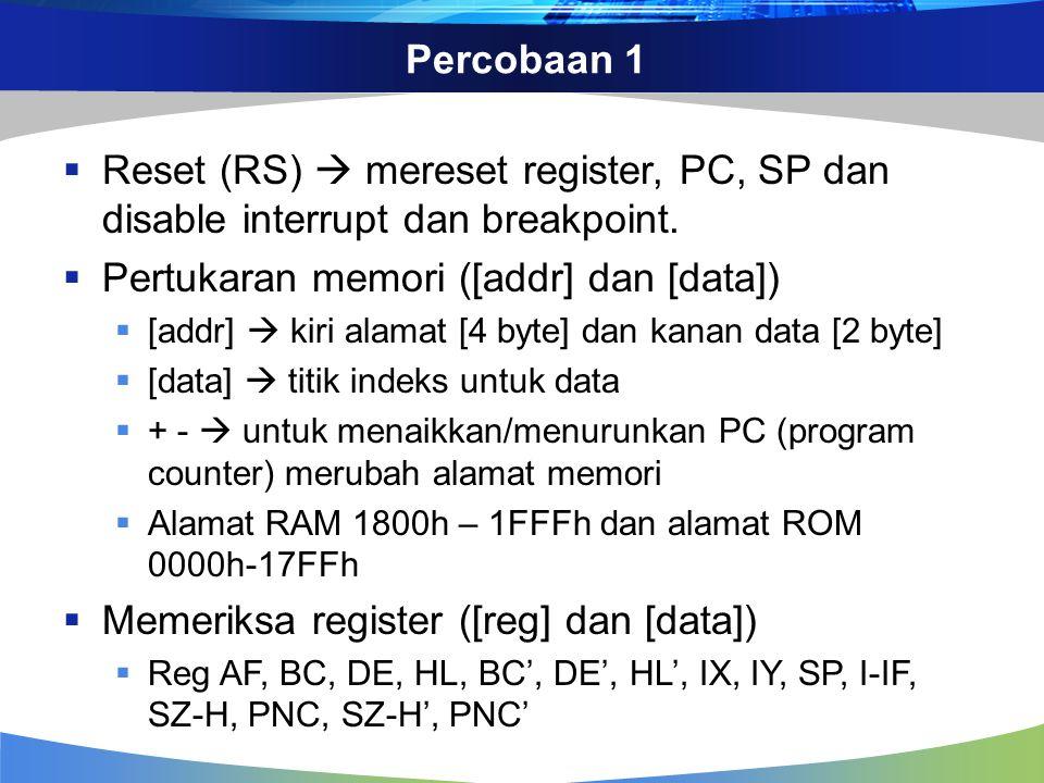 Percobaan 1  Reset (RS)  mereset register, PC, SP dan disable interrupt dan breakpoint.  Pertukaran memori ([addr] dan [data])  [addr]  kiri alam