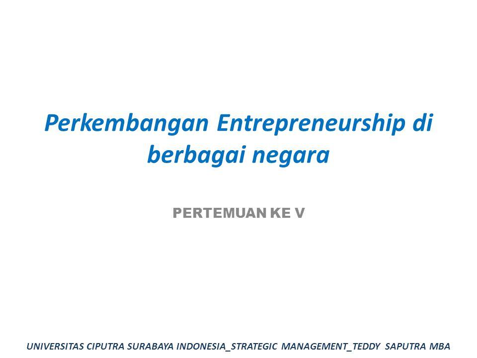 Perkembangan Entrepreneurship di berbagai negara PERTEMUAN KE V UNIVERSITAS CIPUTRA SURABAYA INDONESIA_STRATEGIC MANAGEMENT_TEDDY SAPUTRA MBA