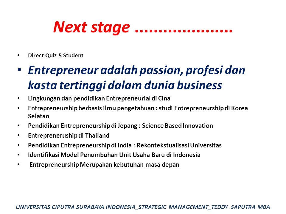 Next stage..................... Direct Quiz 5 Student Entrepreneur adalah passion, profesi dan kasta tertinggi dalam dunia business Lingkungan dan pen