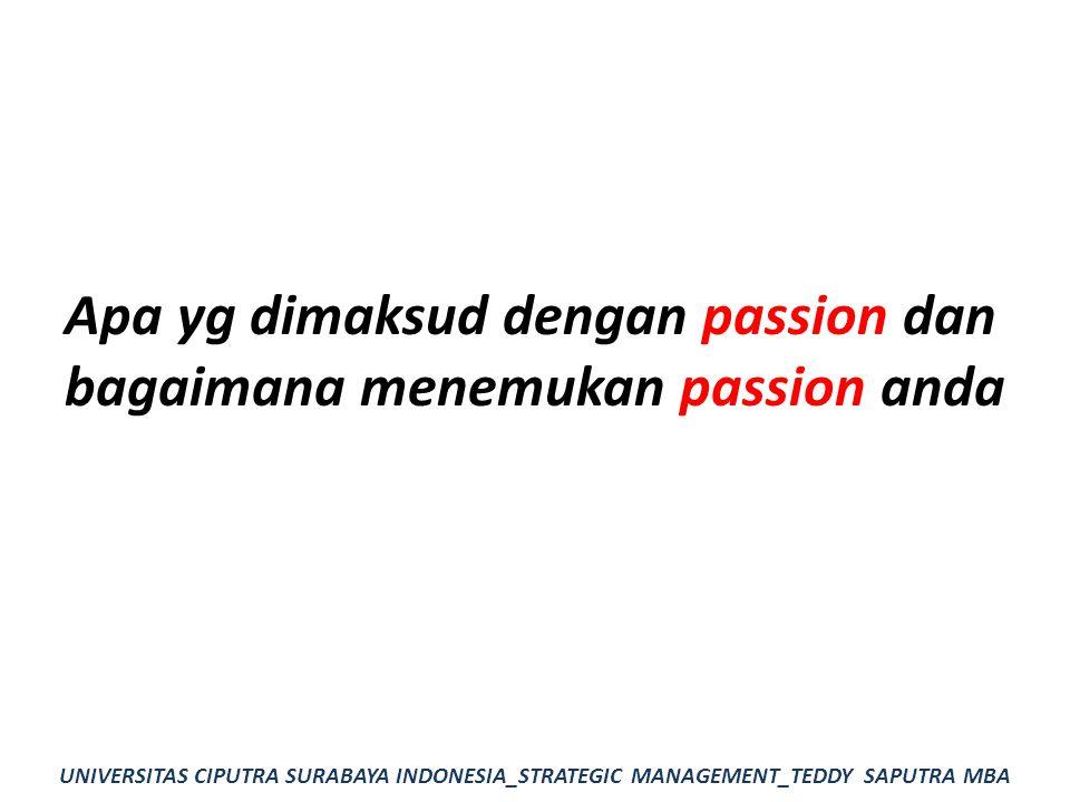 Apa yg dimaksud dengan passion dan bagaimana menemukan passion anda UNIVERSITAS CIPUTRA SURABAYA INDONESIA_STRATEGIC MANAGEMENT_TEDDY SAPUTRA MBA