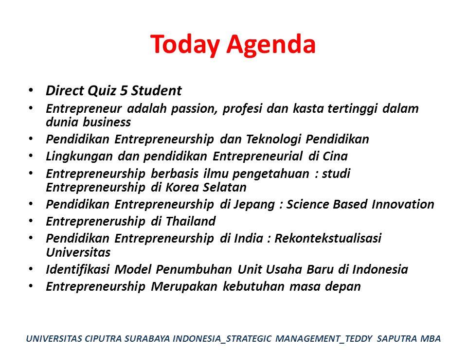 Today Agenda Direct Quiz 5 Student Entrepreneur adalah passion, profesi dan kasta tertinggi dalam dunia business Pendidikan Entrepreneurship dan Tekno
