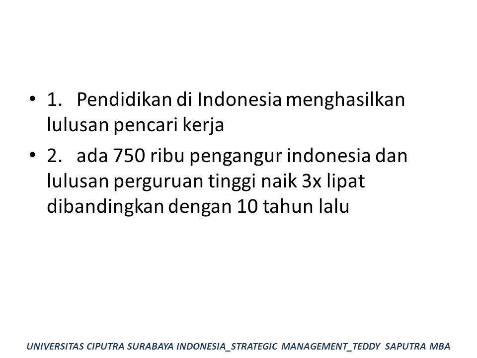1.Pendidikan di Indonesia menghasilkan lulusan pencari kerja 2.ada 750 ribu pengangur indonesia dan lulusan perguruan tinggi naik 3x lipat dibandingka