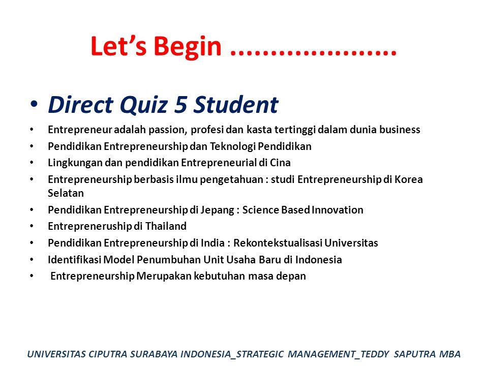 Let's Begin..................... Direct Quiz 5 Student Entrepreneur adalah passion, profesi dan kasta tertinggi dalam dunia business Pendidikan Entrep