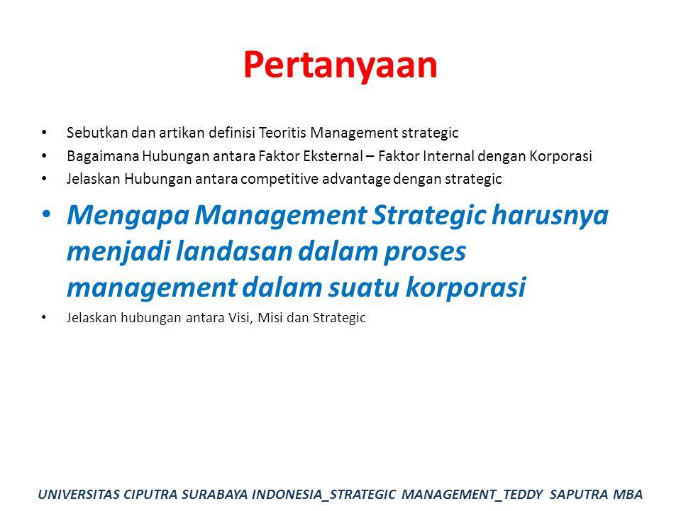 Pertanyaan Sebutkan dan artikan definisi Teoritis Management strategic Bagaimana Hubungan antara Faktor Eksternal – Faktor Internal dengan Korporasi J