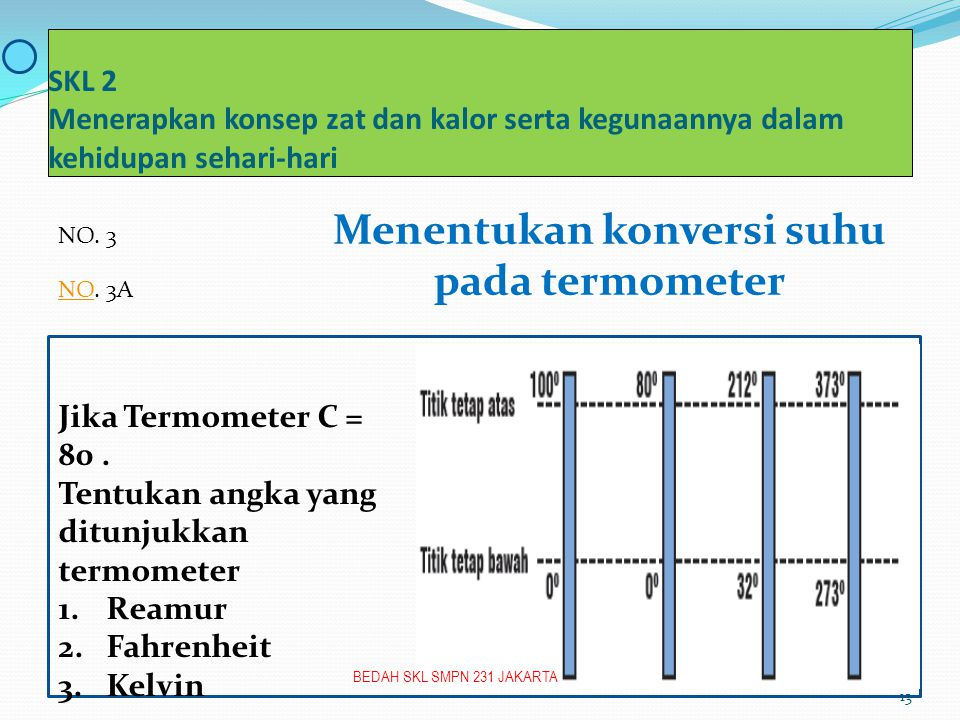 SKL 2 Menerapkan konsep zat dan kalor serta kegunaannya dalam kehidupan sehari-hari Menentukan konversi suhu pada termometer Jika Termometer C = 80.