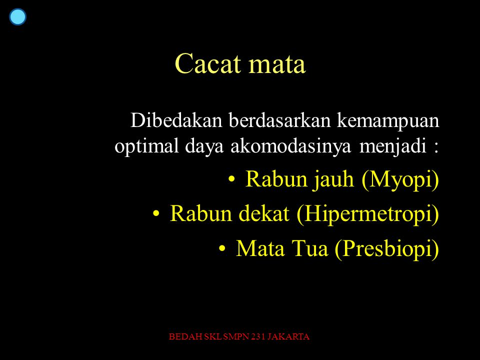 Cacat mata Dibedakan berdasarkan kemampuan optimal daya akomodasinya menjadi : Rabun jauh (Myopi) Rabun dekat (Hipermetropi) Mata Tua (Presbiopi) BEDAH SKL SMPN 231 JAKARTA35