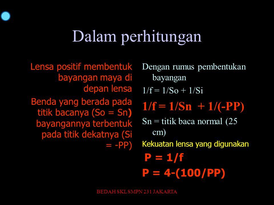 Dalam perhitungan Lensa positif membentuk bayangan maya di depan lensa Benda yang berada pada titik bacanya (So = Sn) bayangannya terbentuk pada titik dekatnya (Si = -PP) Dengan rumus pembentukan bayangan 1/f = 1/So + 1/Si 1/f = 1/Sn + 1/(-PP) Sn = titik baca normal (25 cm) Kekuatan lensa yang digunakan P = 1/f P = 4-(100/PP) BEDAH SKL SMPN 231 JAKARTA43