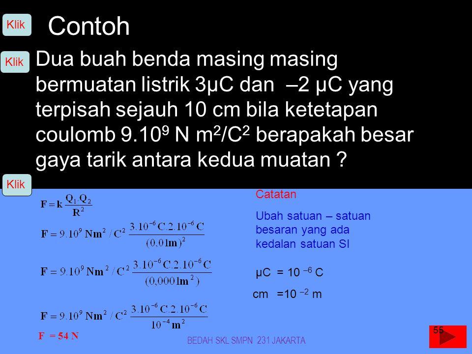 Contoh Dua buah benda masing masing bermuatan listrik 3µC dan –2 µC yang terpisah sejauh 10 cm bila ketetapan coulomb 9.10 9 N m 2 /C 2 berapakah besar gaya tarik antara kedua muatan .