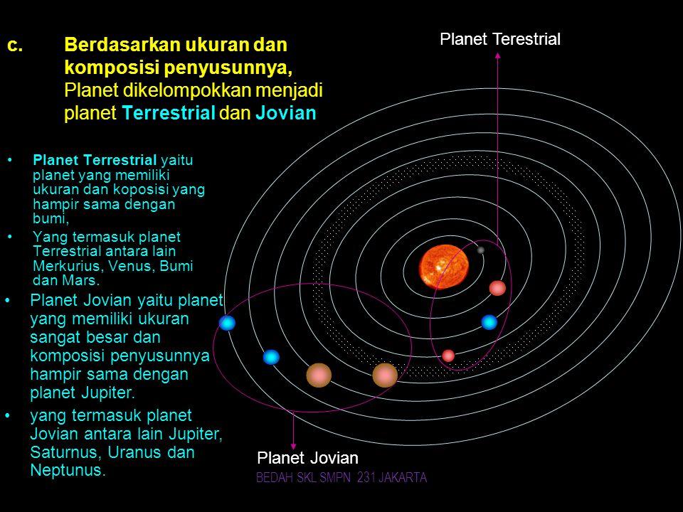 Planet Terestrial Planet Jovian c.Berdasarkan ukuran dan komposisi penyusunnya, Planet dikelompokkan menjadi planet Terrestrial dan Jovian Planet Terrestrial yaitu planet yang memiliki ukuran dan koposisi yang hampir sama dengan bumi, Yang termasuk planet Terrestrial antara lain Merkurius, Venus, Bumi dan Mars.