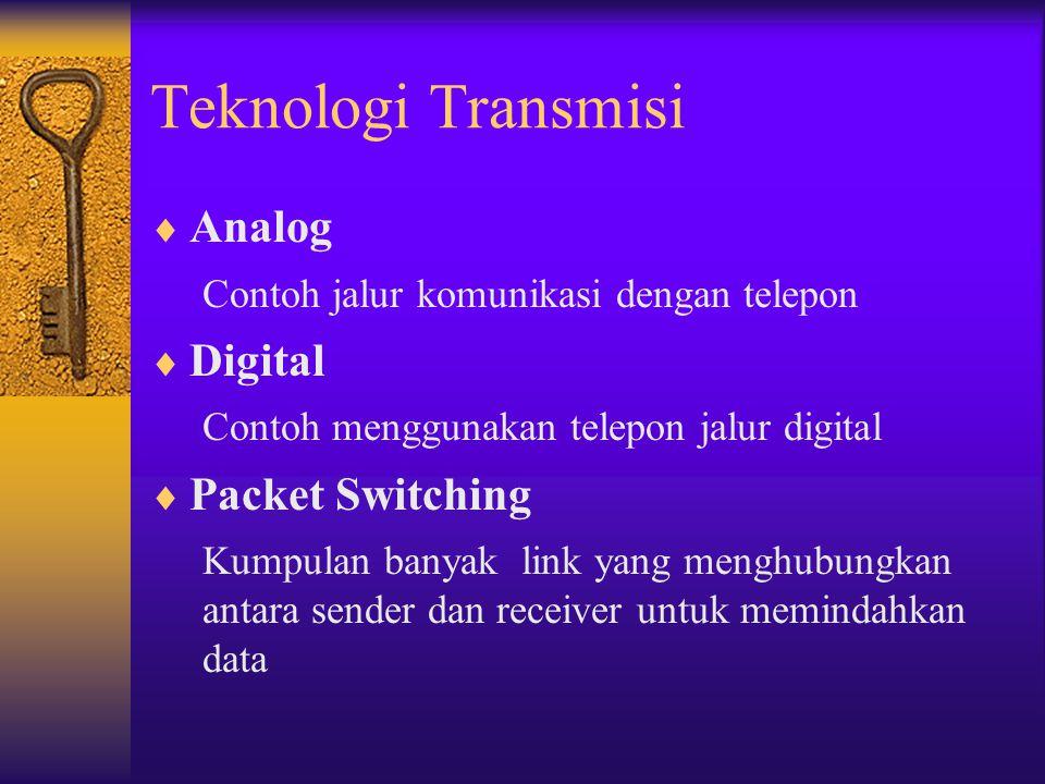 Teknologi Transmisi  Analog Contoh jalur komunikasi dengan telepon  Digital Contoh menggunakan telepon jalur digital  Packet Switching Kumpulan ban