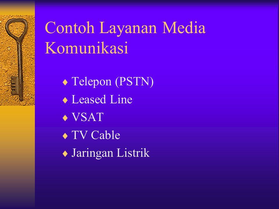 Contoh Layanan Media Komunikasi  Telepon (PSTN)  Leased Line  VSAT  TV Cable  Jaringan Listrik