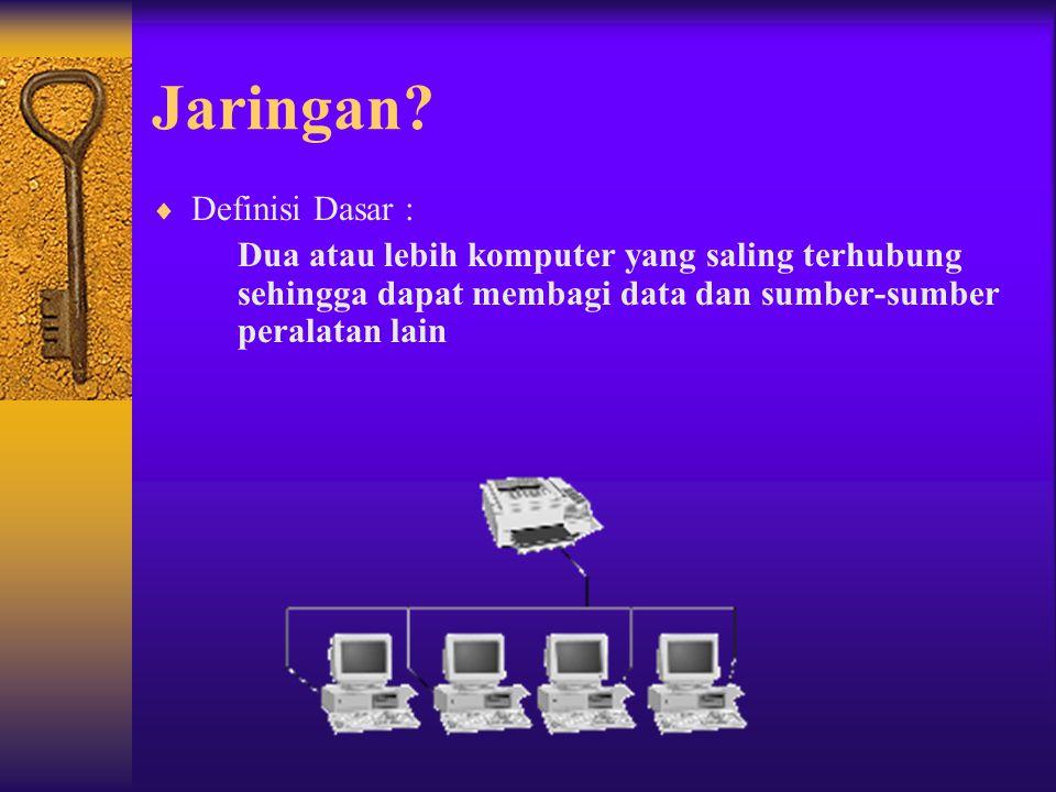 Jaringan?  Definisi Dasar : Dua atau lebih komputer yang saling terhubung sehingga dapat membagi data dan sumber-sumber peralatan lain