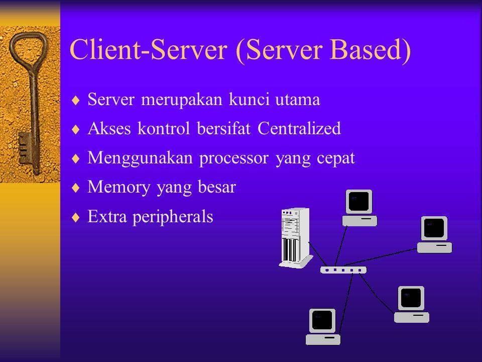Client-Server (Server Based)  Server merupakan kunci utama  Akses kontrol bersifat Centralized  Menggunakan processor yang cepat  Memory yang besa