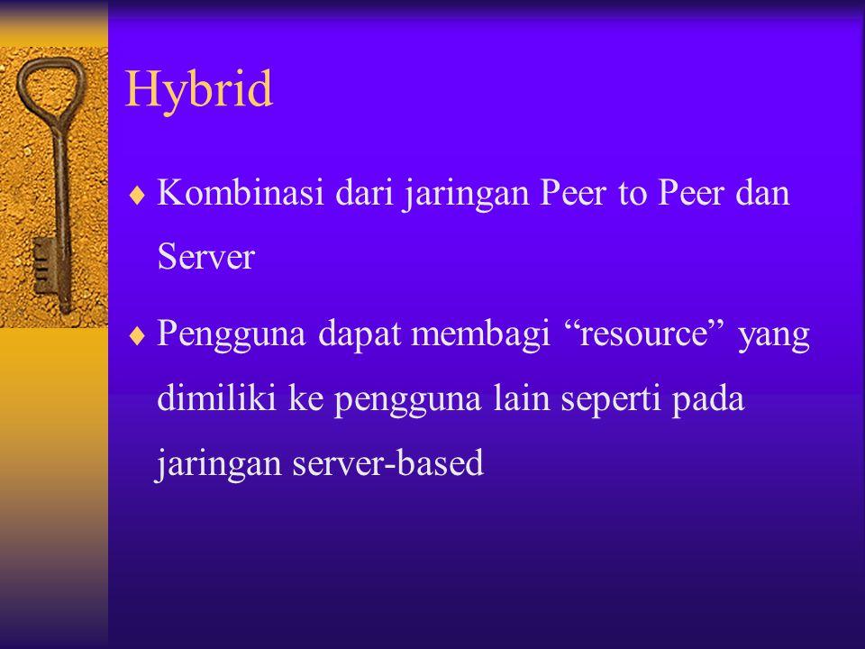"""Hybrid  Kombinasi dari jaringan Peer to Peer dan Server  Pengguna dapat membagi """"resource"""" yang dimiliki ke pengguna lain seperti pada jaringan serv"""