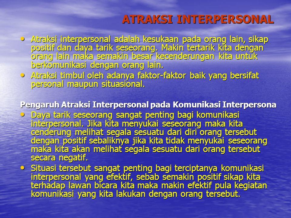 ATRAKSI INTERPERSONAL Atraksi interpersonal adalah kesukaan pada orang lain, sikap positif dan daya tarik seseorang. Makin tertarik kita dengan orang