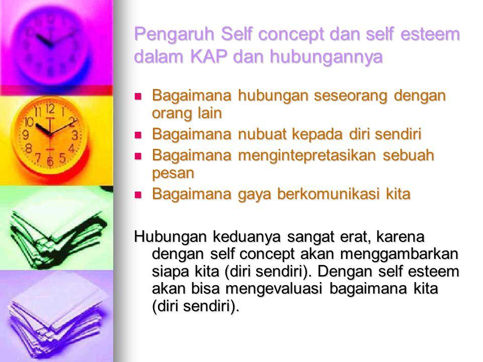 Pengaruh Self concept dan self esteem dalam KAP dan hubungannya Bagaimana hubungan seseorang dengan orang lain Bagaimana hubungan seseorang dengan ora