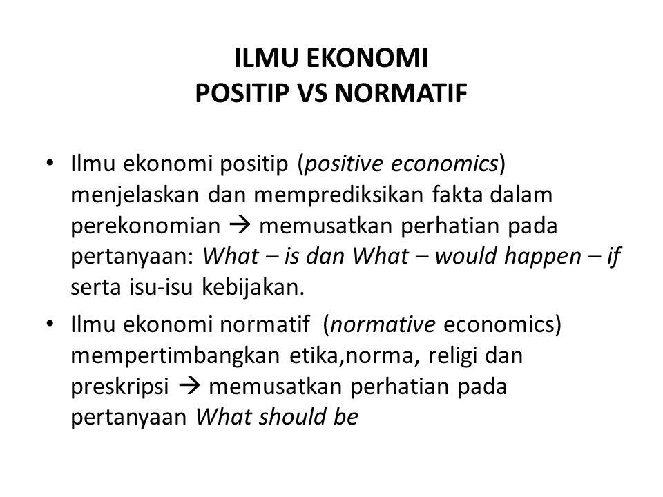 ILMU EKONOMI POSITIP VS NORMATIF Ilmu ekonomi positip (positive economics) menjelaskan dan memprediksikan fakta dalam perekonomian  memusatkan perhatian pada pertanyaan: What – is dan What – would happen – if serta isu-isu kebijakan.