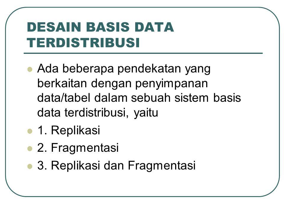 DESAIN BASIS DATA TERDISTRIBUSI Ada beberapa pendekatan yang berkaitan dengan penyimpanan data/tabel dalam sebuah sistem basis data terdistribusi, yai