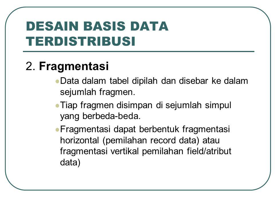 DESAIN BASIS DATA TERDISTRIBUSI 2. Fragmentasi Data dalam tabel dipilah dan disebar ke dalam sejumlah fragmen. Tiap fragmen disimpan di sejumlah simpu
