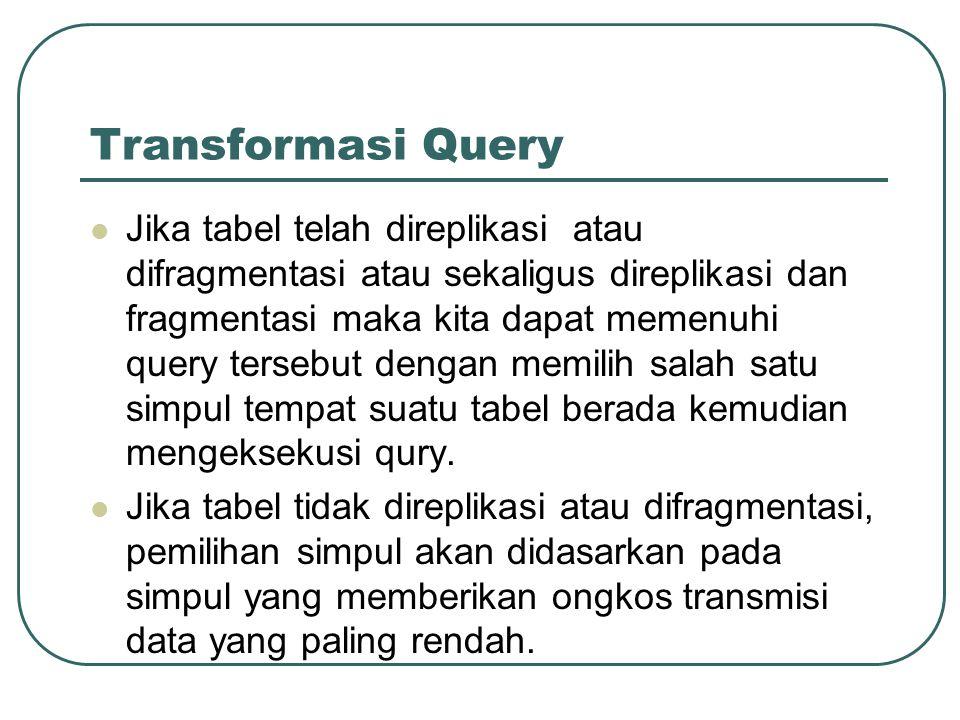 Transformasi Query Jika tabel telah direplikasi atau difragmentasi atau sekaligus direplikasi dan fragmentasi maka kita dapat memenuhi query tersebut