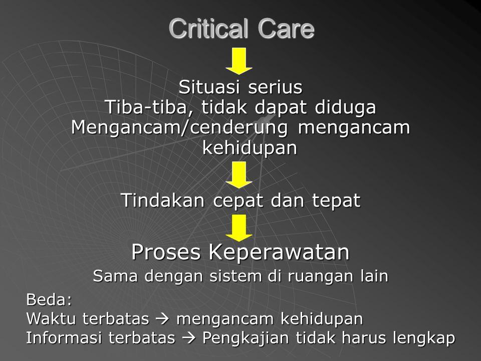 Critical Care Situasi serius Tiba-tiba, tidak dapat diduga Mengancam/cenderung mengancam kehidupan Tindakan cepat dan tepat Proses Keperawatan Sama dengan sistem di ruangan lain Beda: Waktu terbatas  mengancam kehidupan Informasi terbatas  Pengkajian tidak harus lengkap