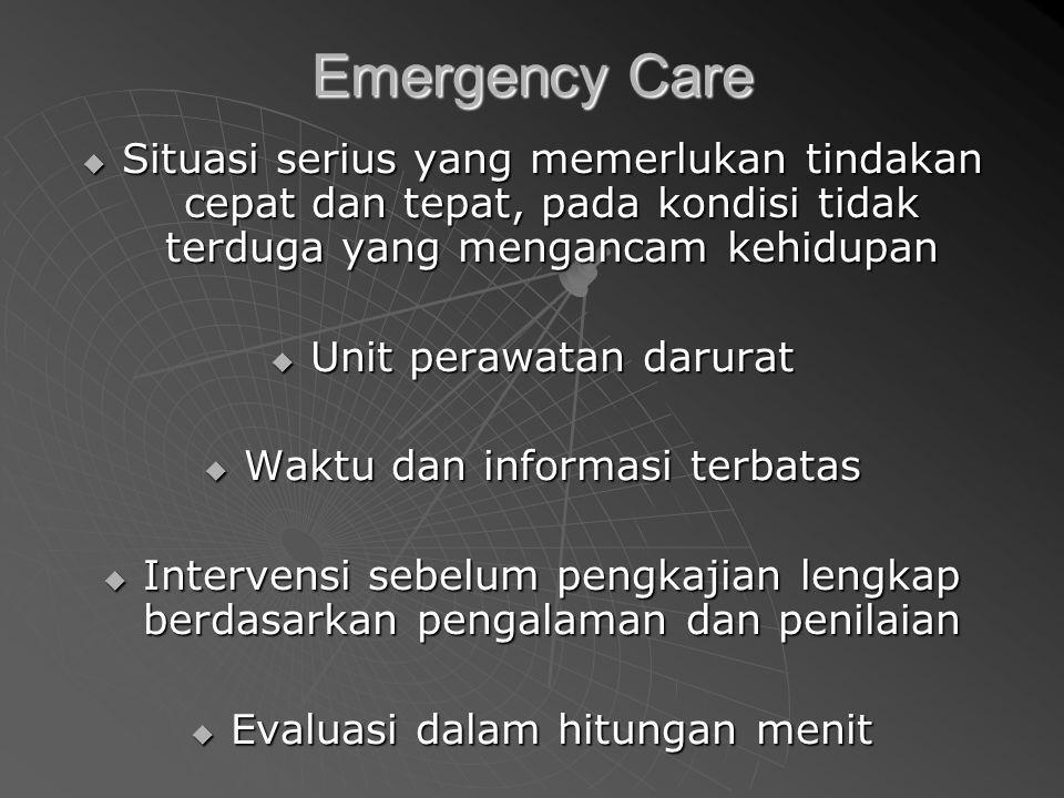 Emergency Care  Situasi serius yang memerlukan tindakan cepat dan tepat, pada kondisi tidak terduga yang mengancam kehidupan  Unit perawatan darurat  Waktu dan informasi terbatas  Intervensi sebelum pengkajian lengkap berdasarkan pengalaman dan penilaian  Evaluasi dalam hitungan menit