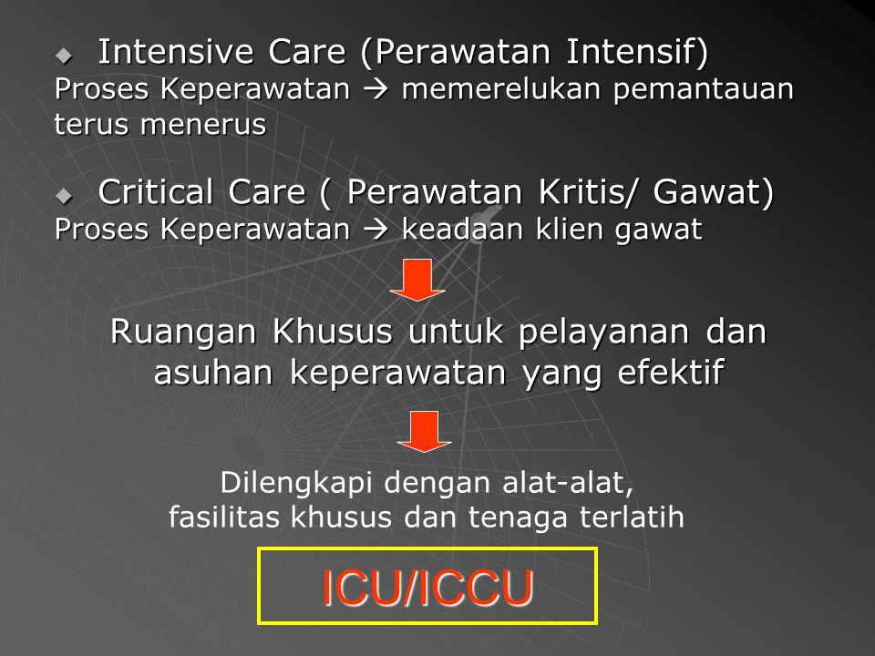 Intensive Care (Perawatan Intensif) Proses Keperawatan  memerelukan pemantauan terus menerus  Critical Care ( Perawatan Kritis/ Gawat) Proses Kepe
