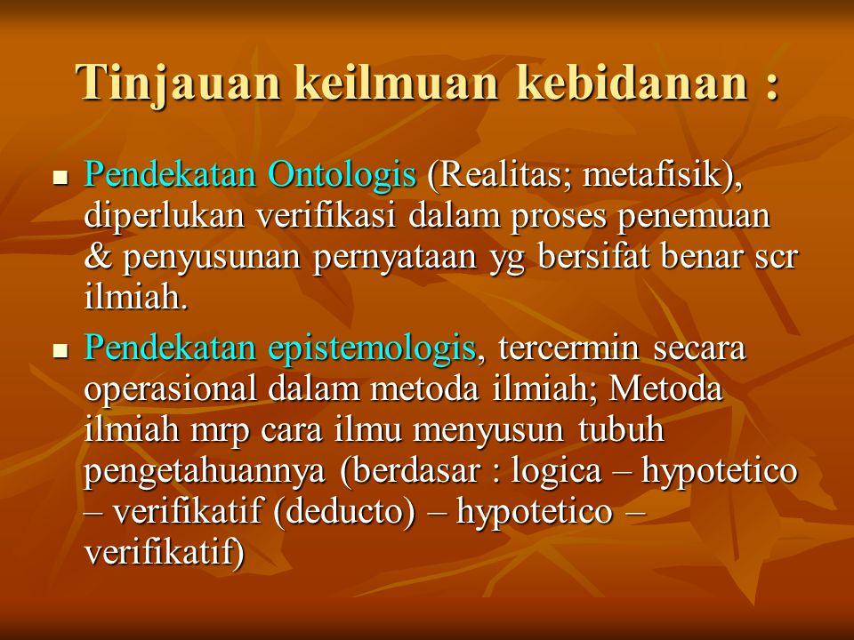 Tinjauan keilmuan kebidanan : Pendekatan Ontologis (Realitas; metafisik), diperlukan verifikasi dalam proses penemuan & penyusunan pernyataan yg bersi