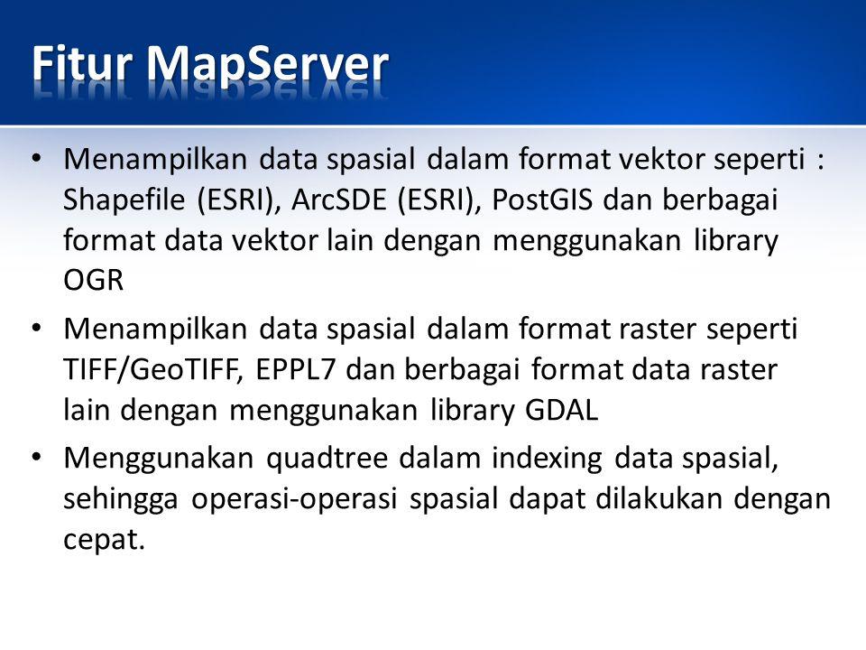 Menampilkan data spasial dalam format vektor seperti : Shapefile (ESRI), ArcSDE (ESRI), PostGIS dan berbagai format data vektor lain dengan menggunakan library OGR Menampilkan data spasial dalam format raster seperti TIFF/GeoTIFF, EPPL7 dan berbagai format data raster lain dengan menggunakan library GDAL Menggunakan quadtree dalam indexing data spasial, sehingga operasi-operasi spasial dapat dilakukan dengan cepat.