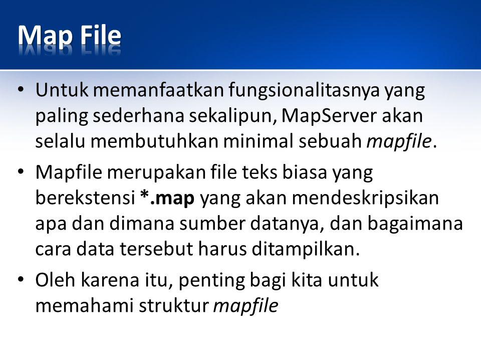 Untuk memanfaatkan fungsionalitasnya yang paling sederhana sekalipun, MapServer akan selalu membutuhkan minimal sebuah mapfile.
