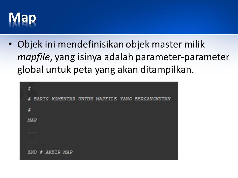 Objek ini mendefinisikan objek master milik mapfile, yang isinya adalah parameter-parameter global untuk peta yang akan ditampilkan.