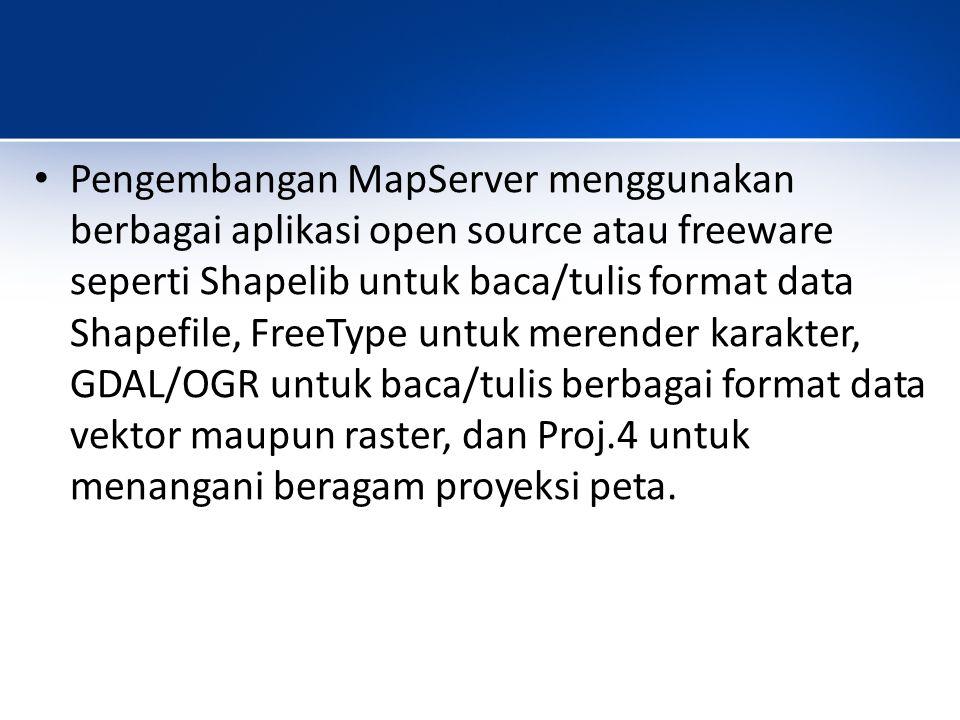 Pengembangan MapServer menggunakan berbagai aplikasi open source atau freeware seperti Shapelib untuk baca/tulis format data Shapefile, FreeType untuk merender karakter, GDAL/OGR untuk baca/tulis berbagai format data vektor maupun raster, dan Proj.4 untuk menangani beragam proyeksi peta.