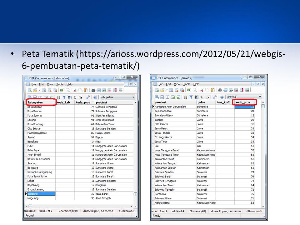 Peta Tematik (https://arioss.wordpress.com/2012/05/21/webgis- 6-pembuatan-peta-tematik/)