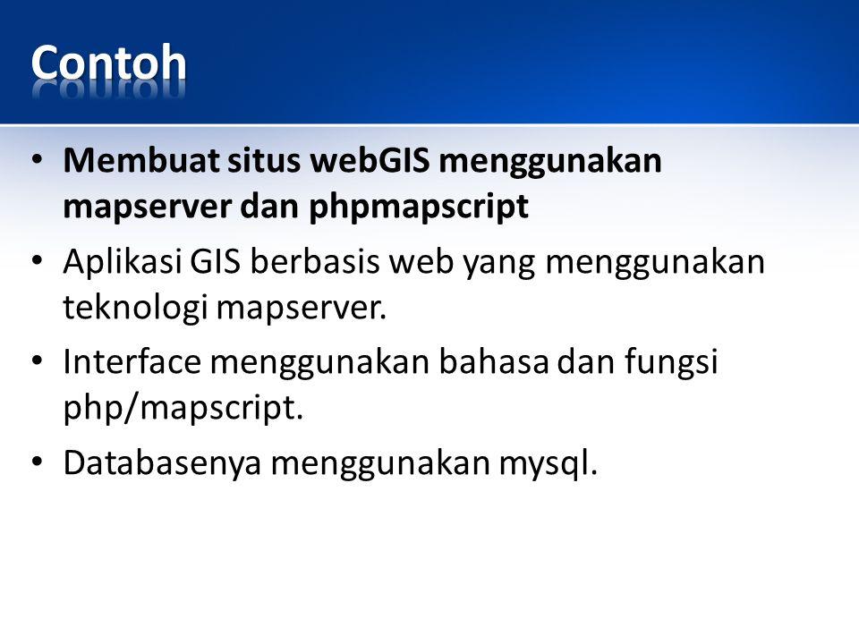 Membuat situs webGIS menggunakan mapserver dan phpmapscript Aplikasi GIS berbasis web yang menggunakan teknologi mapserver.