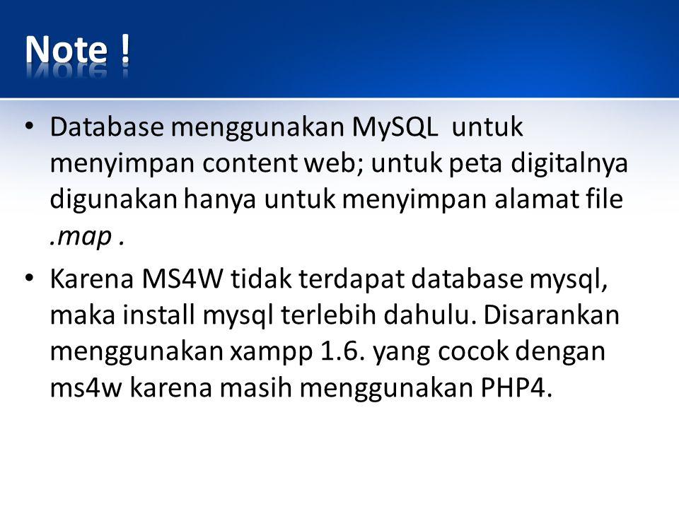 Database menggunakan MySQL untuk menyimpan content web; untuk peta digitalnya digunakan hanya untuk menyimpan alamat file.map.