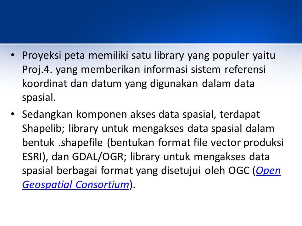 Proyeksi peta memiliki satu library yang populer yaitu Proj.4.