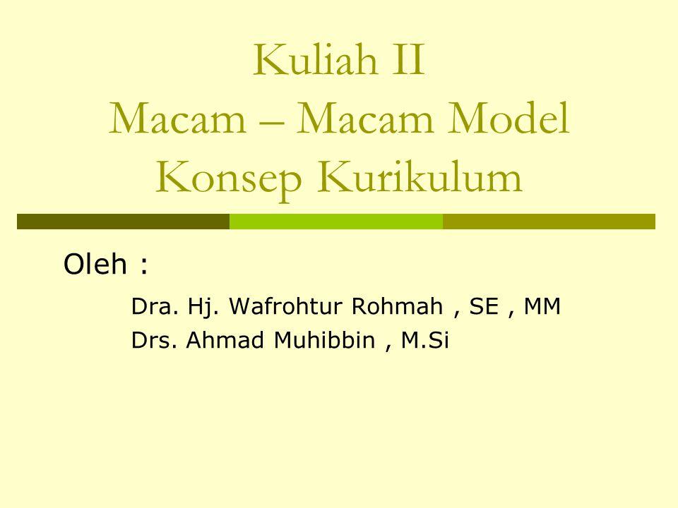 Kuliah II Macam – Macam Model Konsep Kurikulum Oleh : Dra. Hj. Wafrohtur Rohmah, SE, MM Drs. Ahmad Muhibbin, M.Si