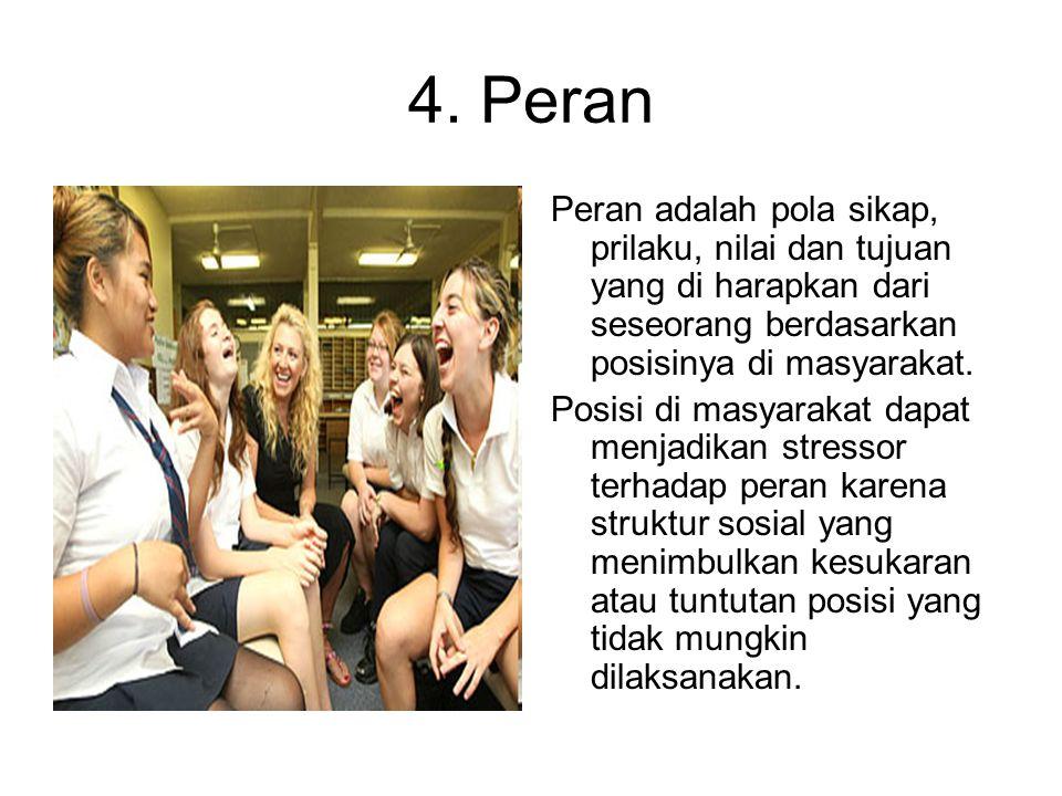 4. Peran Peran adalah pola sikap, prilaku, nilai dan tujuan yang di harapkan dari seseorang berdasarkan posisinya di masyarakat. Posisi di masyarakat