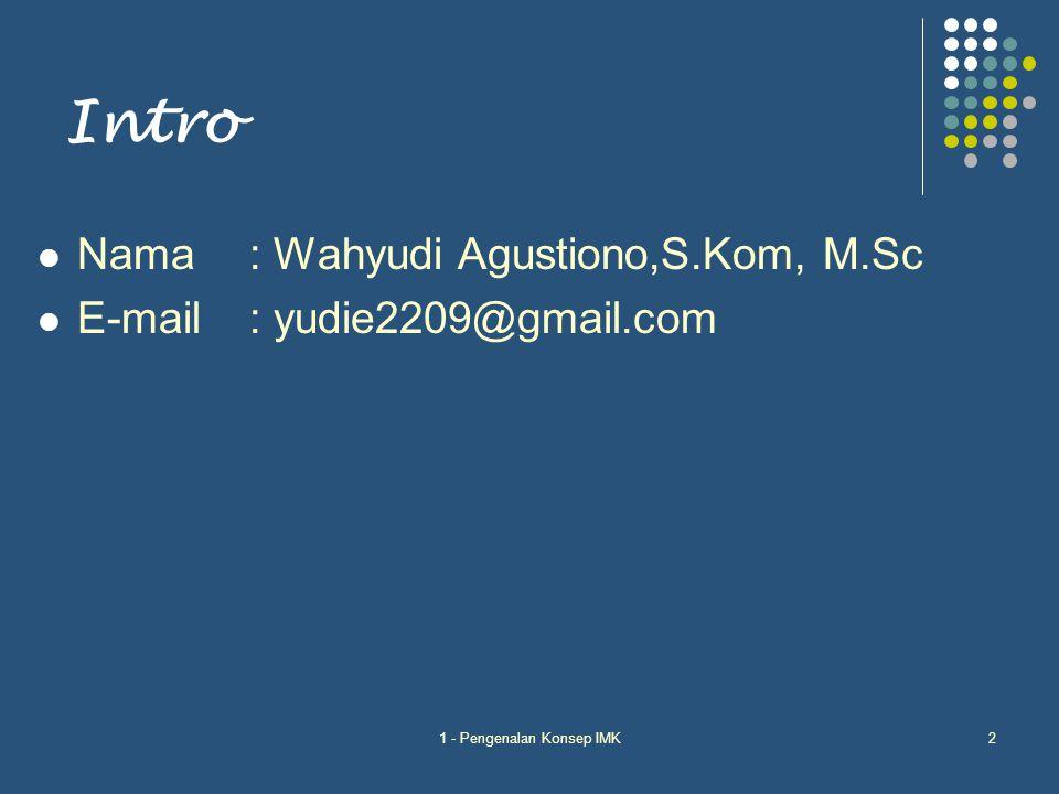 1 - Pengenalan Konsep IMK2 Intro Nama: Wahyudi Agustiono,S.Kom, M.Sc E-mail: yudie2209@gmail.com