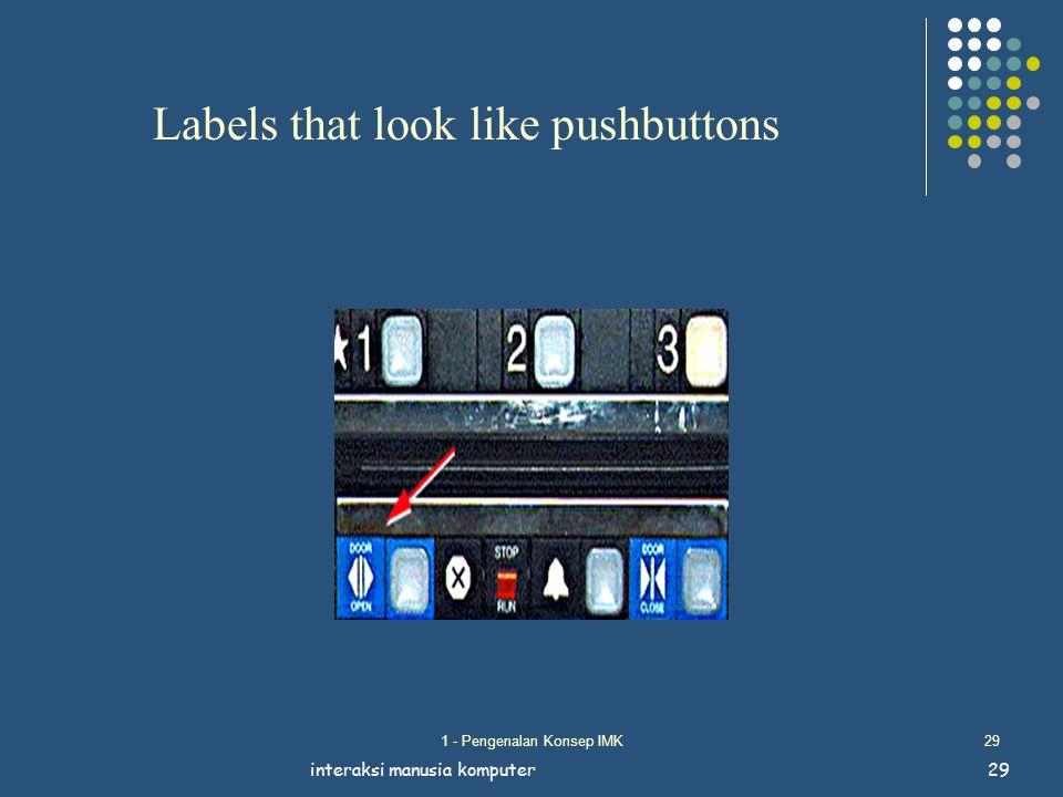 1 - Pengenalan Konsep IMK29 interaksi manusia komputer29 Labels that look like pushbuttons