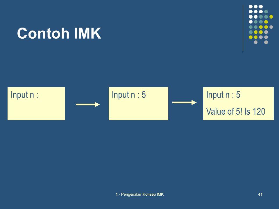 1 - Pengenalan Konsep IMK41 Contoh IMK Input n :Input n : 5 Value of 5! Is 120 Input n : 5