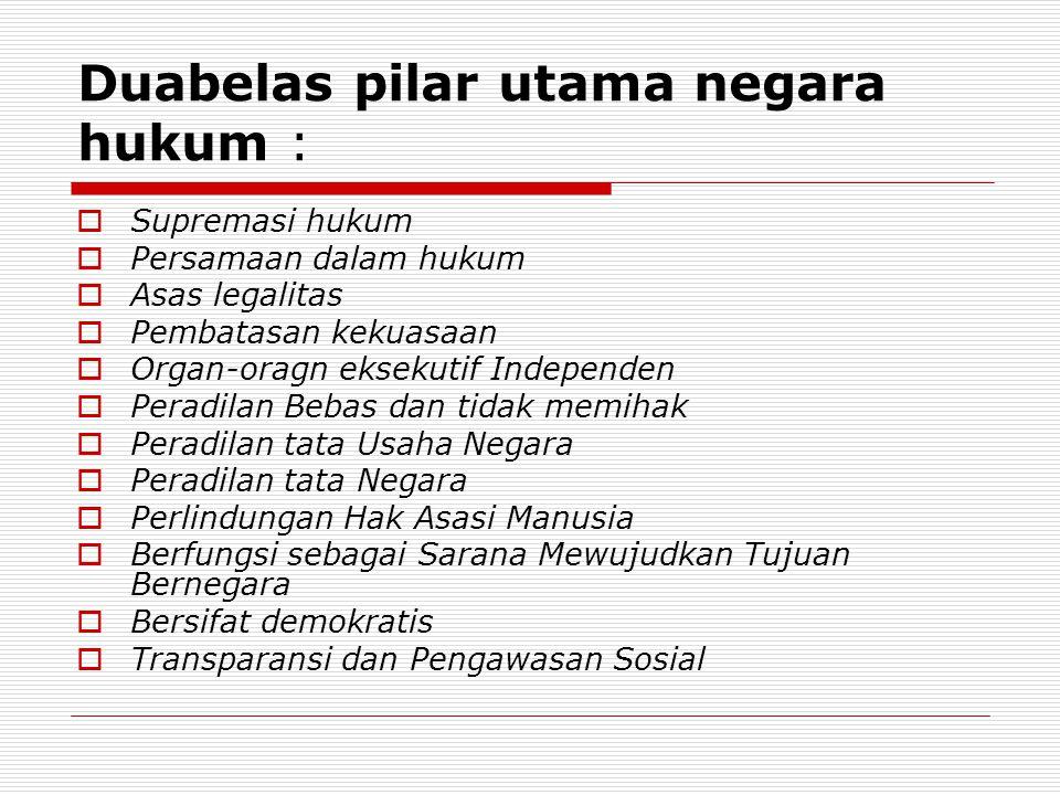 Duabelas pilar utama negara hukum :  Supremasi hukum  Persamaan dalam hukum  Asas legalitas  Pembatasan kekuasaan  Organ-oragn eksekutif Independ