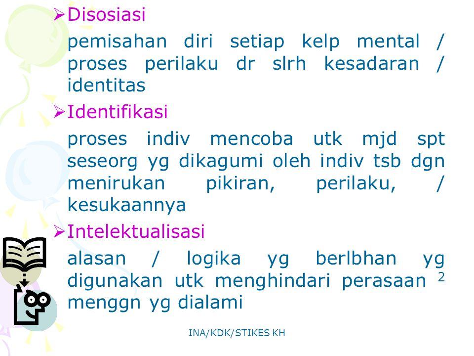 INA/KDK/STIKES KH  Disosiasi pemisahan diri setiap kelp mental / proses perilaku dr slrh kesadaran / identitas  Identifikasi proses indiv mencoba ut
