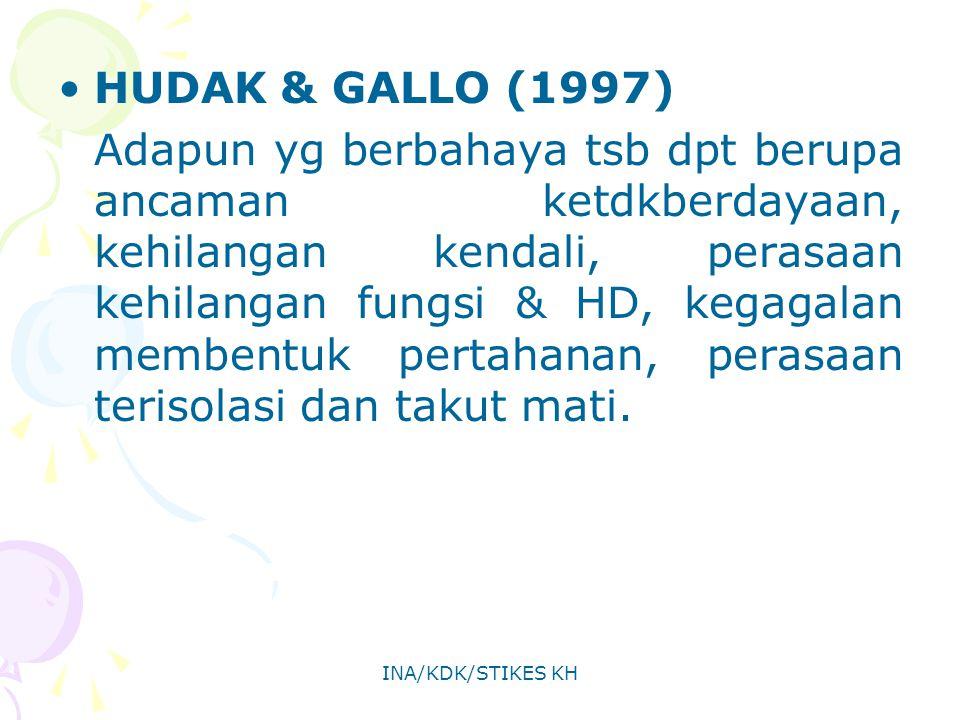 INA/KDK/STIKES KH HUDAK & GALLO (1997) Adapun yg berbahaya tsb dpt berupa ancaman ketdkberdayaan, kehilangan kendali, perasaan kehilangan fungsi & HD,
