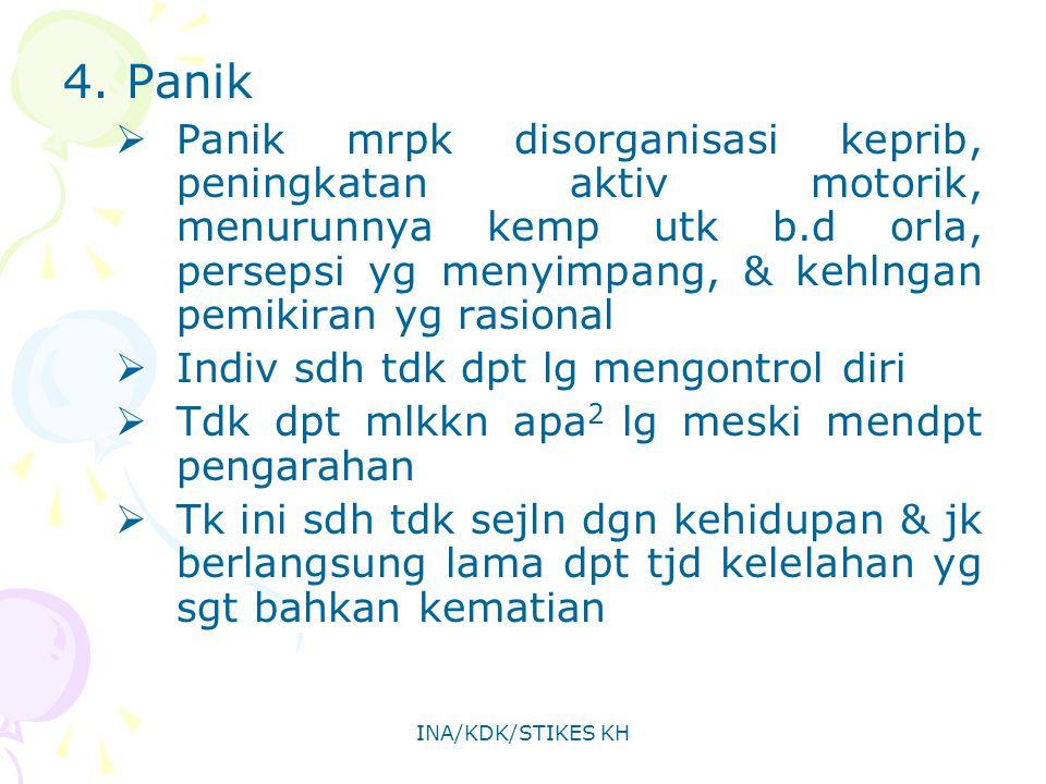 INA/KDK/STIKES KH 4. Panik  Panik mrpk disorganisasi keprib, peningkatan aktiv motorik, menurunnya kemp utk b.d orla, persepsi yg menyimpang, & kehln