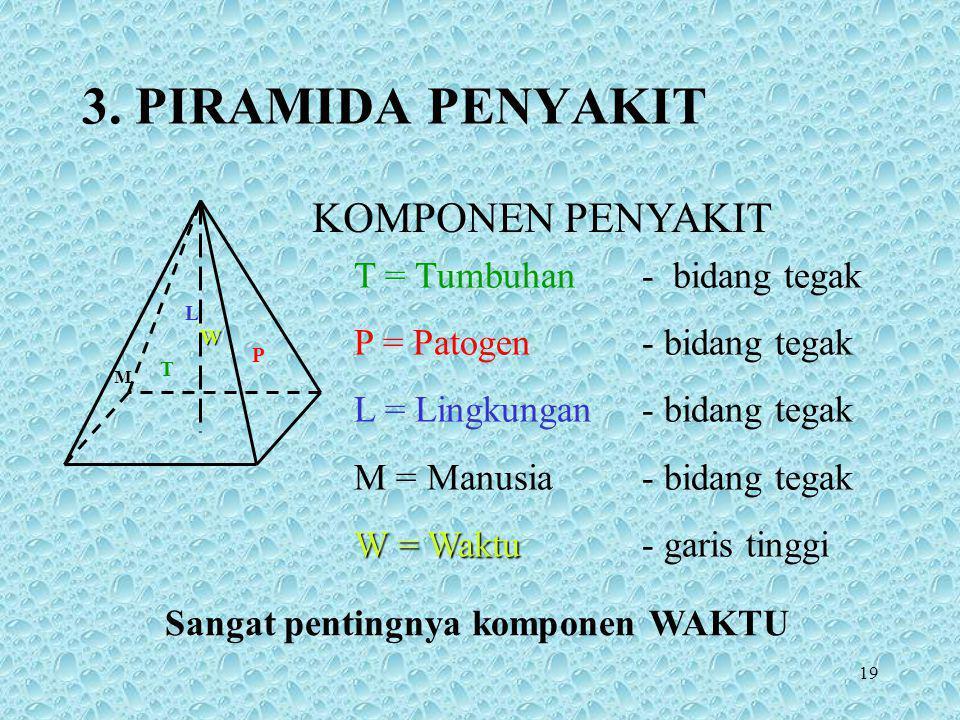 19 3. PIRAMIDA PENYAKIT T = Tumbuhan- bidang tegak P = Patogen- bidang tegak L = Lingkungan- bidang tegak M = Manusia- bidang tegak W = Waktu W = Wakt