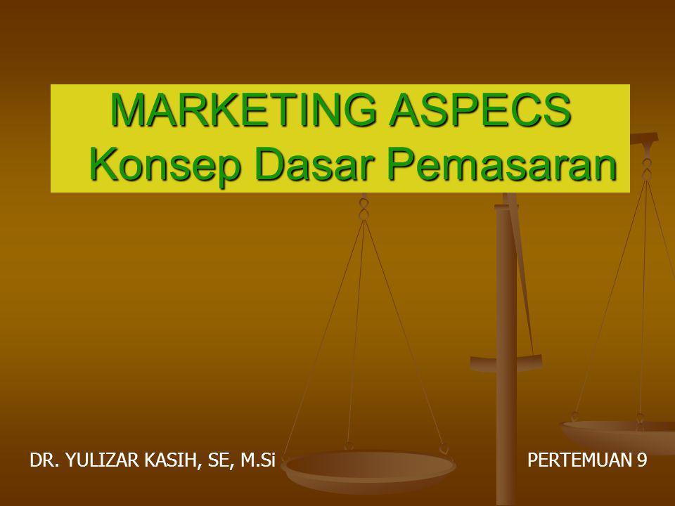 MARKETING ASPECS Konsep Dasar Pemasaran DR. YULIZAR KASIH, SE, M.Si PERTEMUAN 9