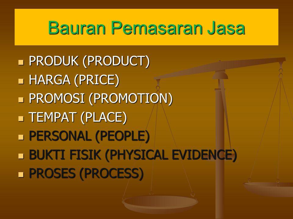 Bauran Pemasaran Jasa PRODUK (PRODUCT) PRODUK (PRODUCT) HARGA (PRICE) HARGA (PRICE) PROMOSI (PROMOTION) PROMOSI (PROMOTION) TEMPAT (PLACE) TEMPAT (PLA