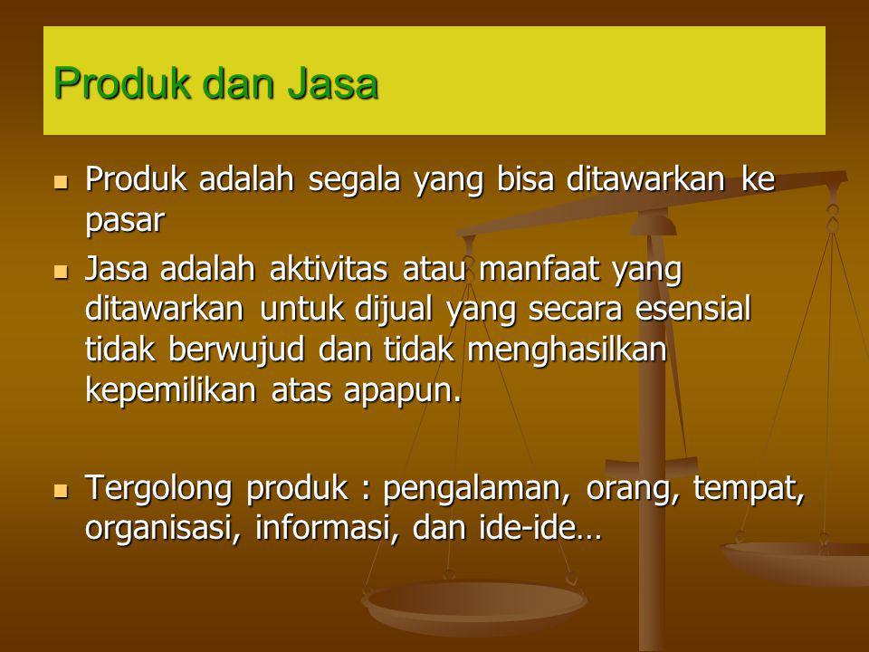 Produk dan Jasa Produk adalah segala yang bisa ditawarkan ke pasar Produk adalah segala yang bisa ditawarkan ke pasar Jasa adalah aktivitas atau manfa