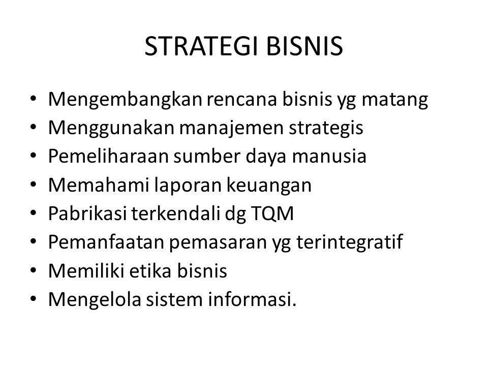 STRATEGI BISNIS Mengembangkan rencana bisnis yg matang Menggunakan manajemen strategis Pemeliharaan sumber daya manusia Memahami laporan keuangan Pabr